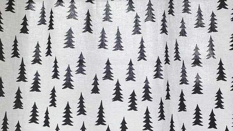 Fine Little Day Látka ze směsi lnu a bavlny Gran Black - 1 m, černá barva, bílá barva, textil