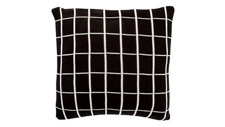 Hübsch Polštář Grid Black 50x50 cm, černá barva, bílá barva, textil