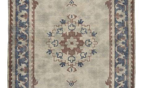 IB LAURSEN Bavlněný koberec Blue printing 120x180, modrá barva, hnědá barva, textil