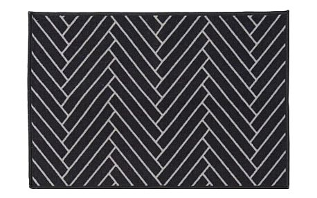 House Doctor Rohožka Herringbone 60x90 cm, černá barva, bílá barva, plast