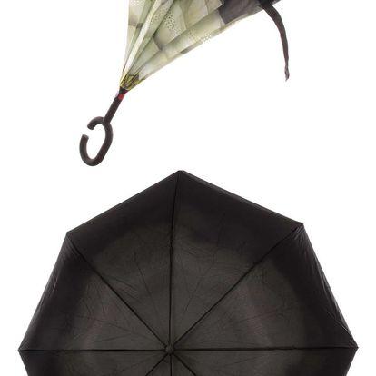 Obrácený holový deštník s dvojitým potahem Bílá růže