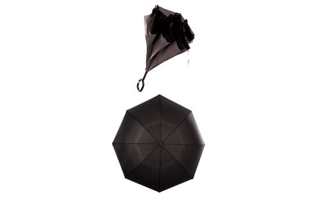 Obrácený holový deštník s dvojitým potahem v tmavé šedé barvě