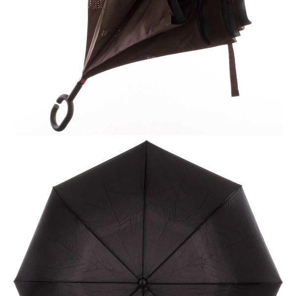 Obrácený holový deštník s dvojitým potahem v hnědé barvě