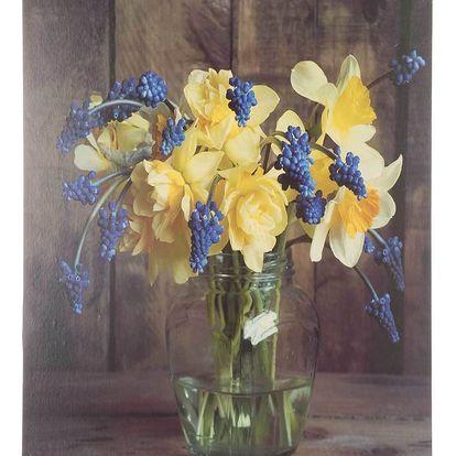 Obraz na stěnu - Modré hyacinty a žluté narcisy
