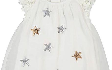 BOBOLI Společenské šifonové šaty, hvězdy, vel. 86 cm - bílá, holka