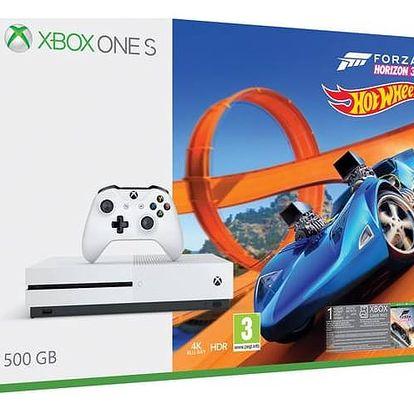 Herní konzole Microsoft Xbox One S 500 GB Forza Horizon 3 + rozšíření Forza Horizon 3 Hot Wheels + 14 denní Xbox LIVE GOLD (ZQ9-00211) + Doprava zdarma