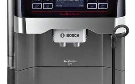Espresso Bosch TES60523RW titanium + Káva BIO zrnková Uganda 250 g Simon Lévelt v hodnotě 159 Kč + Doprava zdarma