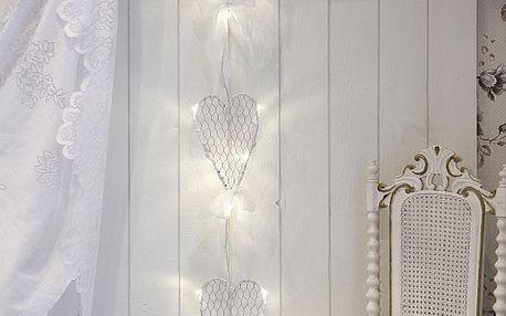 STAR TRADING Závěsná svítící srdíčka Hjärta, bílá barva, kov