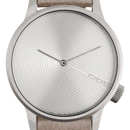 Komono Pánské hodinky Komono Winston Deco Dove, šedá barva, kov, kůže