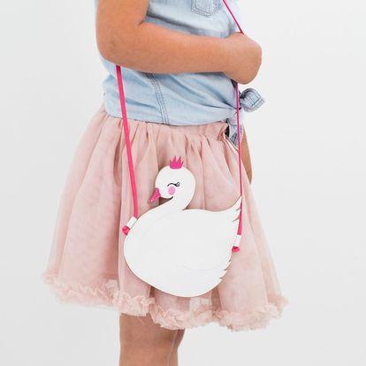 A Little Lovely Company Dětská kabelka Little Swan, růžová barva, bílá barva, textil (slevový kód JEZISEK24 na -24 %)