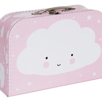 A Little Lovely Company Dětský kufřík Cloud Pink, růžová barva, papír