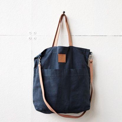House Doctor Taška Solid Blue, modrá barva, béžová barva, textil (slevový kód JEZISEK24 na -24 %)