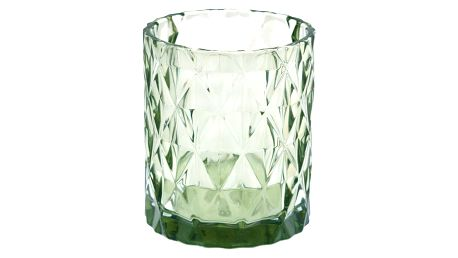 GREEN GATE Skleněný svícen Amanda green, zelená barva, sklo