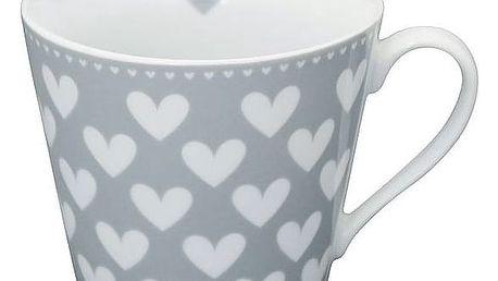 Krasilnikoff Hrneček Grey White Hearts, šedá barva, bílá barva, porcelán