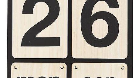 MONOGRAPH Dřevěný kalendář black/wood, černá barva, přírodní barva, dřevo
