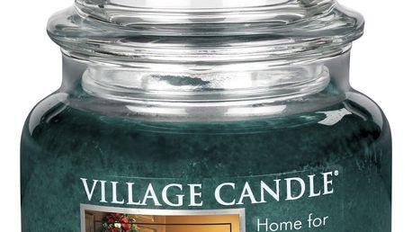 VILLAGE CANDLE Svíčka ve skle Home for Christmas - malá, zelená barva, sklo