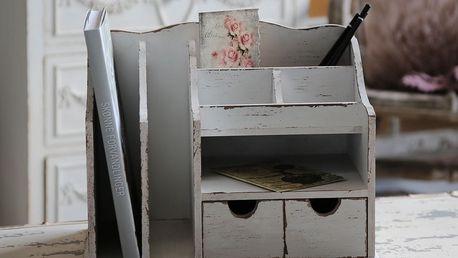 Chic Antique Dřevěný pořadač na stůl, krémová barva, dřevo