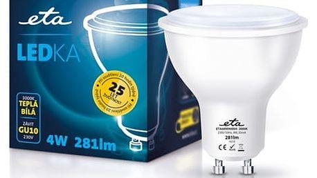 Žárovka LED ETA EKO LEDka bodová, 4W, GU10, teplá bílá (GU10-PR-281-16A)