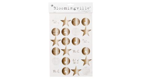 Bloomingville Vánoční nálepky Copper - 24 ks, měděná barva, papír