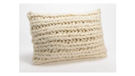 Bílý pletený polštář Amadeus Foreign, 50 x 30 cm