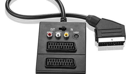 Kabel GoGEN SCART /2x SCART + S-Video, 3x Cinch, 0,5m (SCARTHUB 050MF01) černý