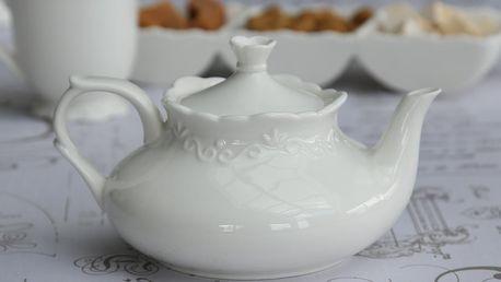 Chic Antique Čajová konvice Provence, bílá barva, porcelán (slevový kód JEZISEK24 na -24 %)