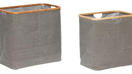Hübsch Koš na prádlo Grey/bamboo Větší, šedá barva, dřevo, textil