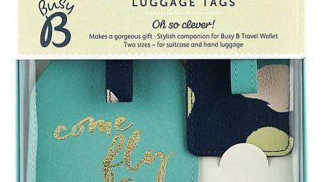 Busy B Jmenovky na zavazadla Fashion - 2 ks, modrá barva, zelená barva, multi barva, zlatá barva, kůže