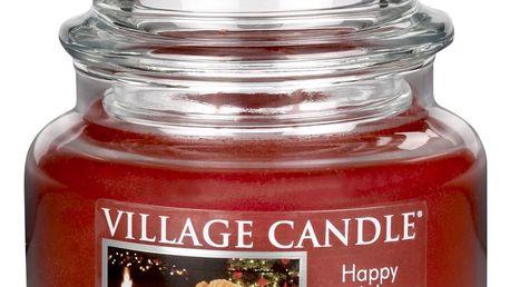 VILLAGE CANDLE Svíčka ve skle Happy holidays - malá, červená barva, sklo
