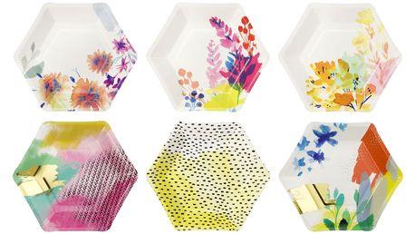 Talking Tables Papírové talířky Fluorescent Floral - set 12 ks, růžová barva, multi barva, papír