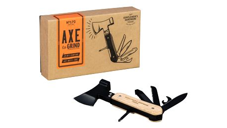 GENTLEMEN'S HARDWARE Multifunkční nástroj - sekyrka 10v1, černá barva, hnědá barva, dřevo, kov