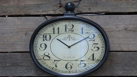 Chic Antique Nástěnné hodiny Antique Black, černá barva, sklo, kov