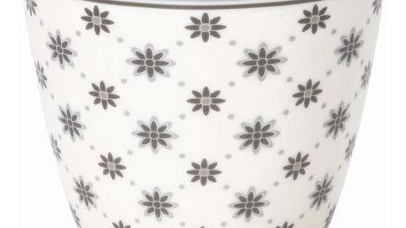 GREEN GATE Latte cup Laurie white, šedá barva, bílá barva, porcelán 300 ml (slevový kód JEZISEK24 na -24 %)