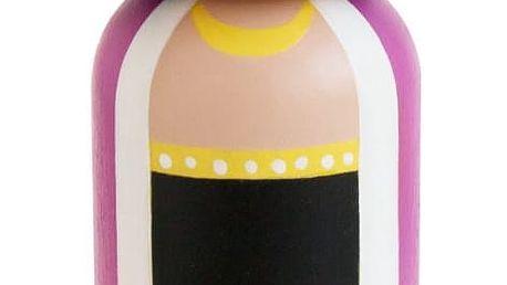 Lucie Kaas Dřevěná kokeshi panenka FRIDA 14,5 cm, zelená barva, dřevo
