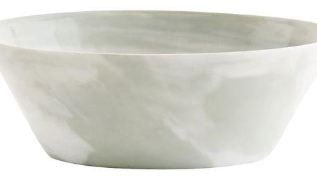 MADAM STOLTZ Porcelánová miska Marble Print, zelená barva, bílá barva, porcelán