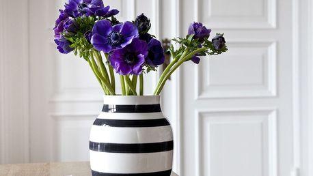 KÄHLER Váza Omaggio Black 21 cm, černá barva, bílá barva, keramika