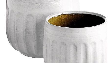 Tine K Home Keramický květináč Grooves White L - 2 druhy Menší velikost, bílá barva, keramika (slevový kód JEZISEK24 na -24 %)