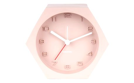 Karlsson Designový budík Hexagon Concrete Pink, růžová barva, beton