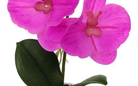 Orchidea v keramickém květináči, tm. růžová, ORC720902
