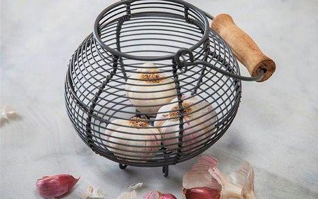 Garden Trading Drátěný košík na česnek Charcoal, šedá barva, kov