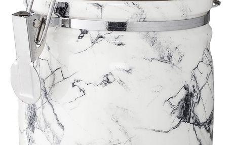 Bloomingville Porcelánová dóza White Marble, šedá barva, bílá barva, kov, porcelán