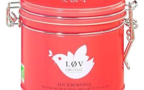 Løv Organic Zelený čaj Løv Is Beautiful - 100 g, červená barva, kov