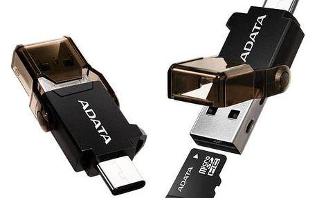 Čtečka paměťových karet ADATA s duálním konektorem (USB-C + USB 3.1) (ACMR3PL-OTG-RBK) černá + Doprava zdarma