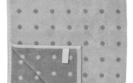 Bloomingville Bavlněná osuška Grey Dot 70 x 140 cm, šedá barva, textil