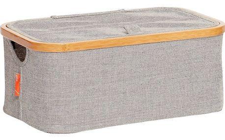 Hübsch Textilní úložný box Bamboo frame - menší, šedá barva, dřevo, textil