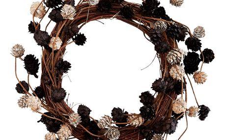 MADAM STOLTZ Věneček z borových šišek 35cm, hnědá barva, dřevo