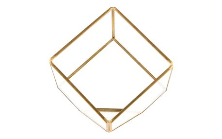 sass & belle Skleněné terarium Brass Cube, čirá barva, sklo