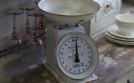Chic Antique Kuchyňská váha Antique White, bílá barva, kov
