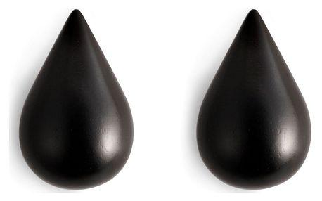 normann COPENHAGEN Dřevěné háčky Small Black Drop - set 2 ks, černá barva, dřevo