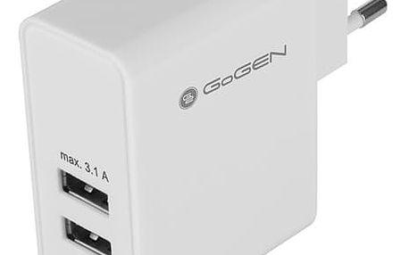 Nabíječka do sítě GoGEN ACH 300, 3x USB, 3,1A bílá (GOGACH300)
